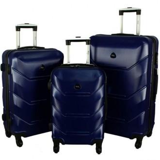 Дорожный Чемодан сумка Carbon 720 набор 3 штуки темно-синий. Киев. фото 1