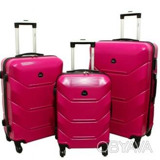 Дорожный Чемодан сумка Carbon 720 набор 3 штуки розовый  Чемодан Carbon 720 на. Киев, Киевская область. фото 1