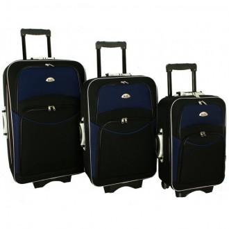 Дорожный чемодан сумка 773 набор 3 штуки черно-т.синий. Киев. фото 1