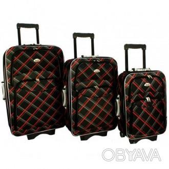 Дорожный чемодан сумка 773 набор 3 штуки черная-карта  ХАРАКТЕРИСТИКА:  Корп. Киев, Киевская область. фото 1