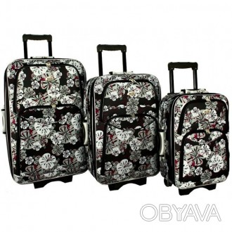 Дорожный чемодан сумка 773 набор 3 штуки цветы  ХАРАКТЕРИСТИКА:  Корпус осна. Киев, Киевская область. фото 1