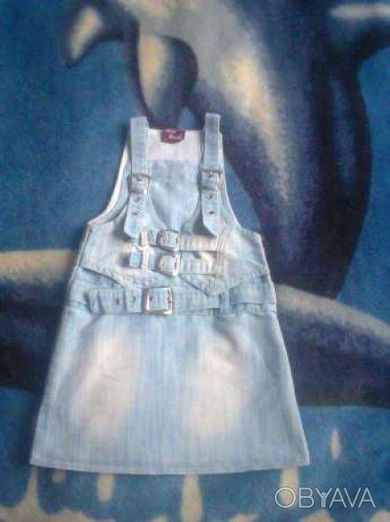 Продам джинсовый сарафан на девочку!Состояние как новый,одет пару раз!Застёгивае. Чернигов, Черниговская область. фото 1