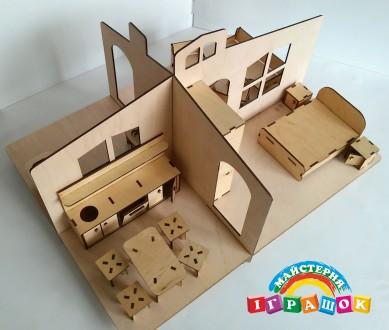 Разборной кукольный домик с мебелью из натурального материала – фанеры. Уникаль. Одесса, Одесская область. фото 3