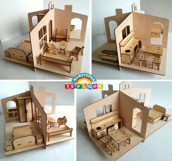 Разборной кукольный домик с мебелью из натурального материала – фанеры. Уникаль. Одесса, Одесская область. фото 9