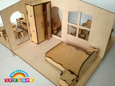 Разборной кукольный домик с мебелью из натурального материала – фанеры. Уникаль. Одесса, Одесская область. фото 5