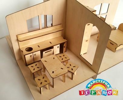 Разборной кукольный домик с мебелью из натурального материала – фанеры. Уникаль. Одесса, Одесская область. фото 1