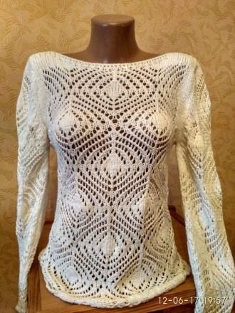 Ажурный женский белоснежный свитер. Николаев. фото 1