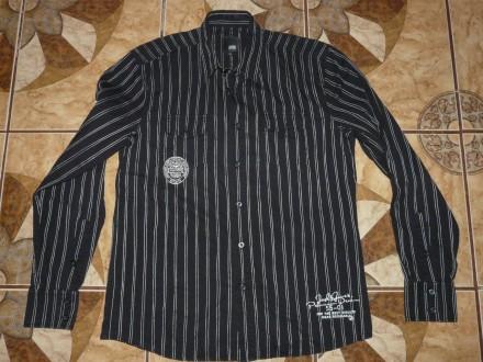 Рубашка Jack& Jones хлопок, черная в полоскуsize M/46-48 оригинал. Черкассы. фото 1