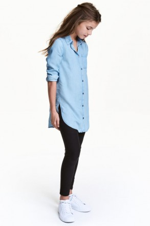 Удлинённая рубашка H&M на девочку 10-11 лет/146 см, 12-13 лет/158 см. Орехов. фото 1
