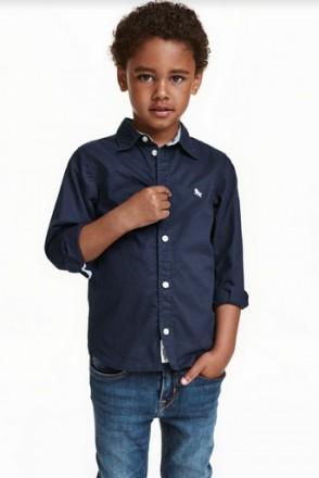 Рубашка H&M на мальчика 1,5-2 года/92 см. Орехов. фото 1