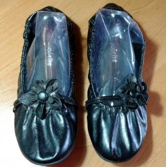 Туфли балетки черные с цветком. Змиев. фото 1