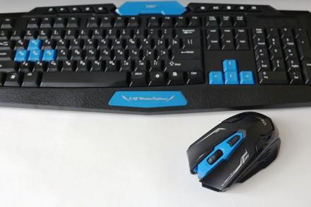 Беспроводная игровая клавиатура и мышь HK8100. Днепр. фото 1