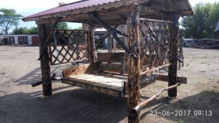 Продаются качели ,уличные комплекты садовой мебели из дерева. Южноукраинск, Николаевская область. фото 2