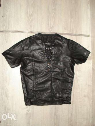 Рубашка кожаная унисекс с коротким рукавом. Киев. фото 1