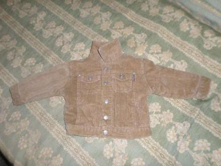 Куртка вельвет, отстегной тёплый воротник (6-9 мес), деми, весна-осень. Винница. фото 1
