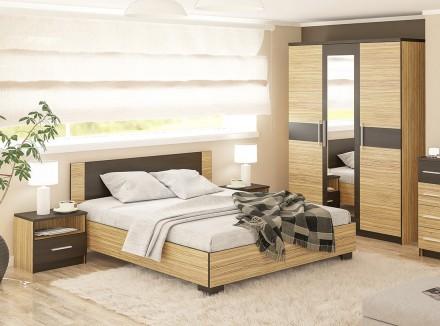 Спальня Вероника (Зебрано). Кровать, шкаф, прикроватные тумбы. Киев. фото 1