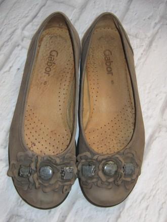 Кожаные стильные туфли-балетки Gabor (Германия), размер 38 (25 см). Черноморск (Ильичевск). фото 1
