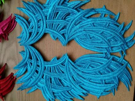 Лейсы, кружево нашивное, пришивные зеркальные голубые. Киев. фото 1