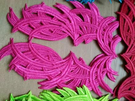 Кружево нашивное, лейсы пришивные розовые флуорисцентные. Киев. фото 1
