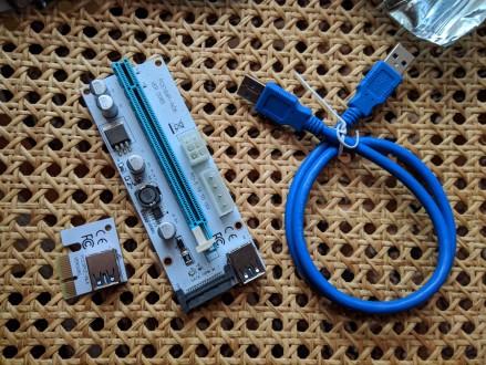 Райзер 008S + Подарок! Sata Molex 6pin (Райзера, Рейзер, Riser). Борислав. фото 1