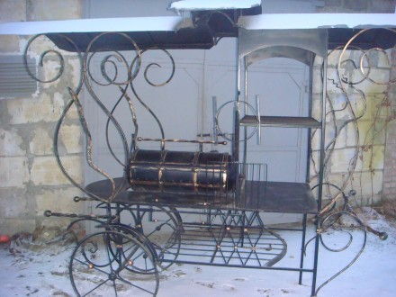 Мангал на колесах кованый. Ровно. фото 1