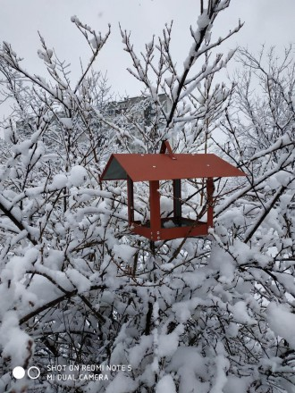 Кормушка для птиц в виде домика металлическая.. Киев. фото 1