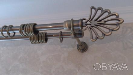 Металлический карниз для штор ф16мм 2й 3м комплект: труба гладкая ф16мм 3,0м 2ш. Днепр, Днепропетровская область. фото 1
