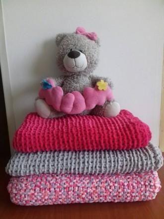 Пледы одеяла для новорожденных в коляску и кроватку велюровые вязаные ручная раб. Одесса. фото 1