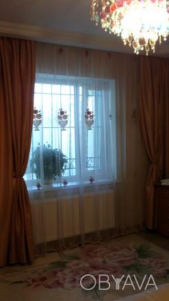 Гардина в спальню, основа сетка, вышивка бархат крупные корзины. Гардина цельная. Днепр, Днепропетровская область. фото 1