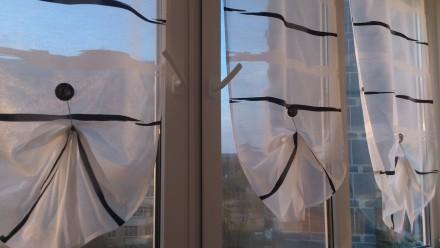 Декорирование балконных окон гардинами. Ткань для гардины Rasch textil, Германия. Днепр, Днепропетровская область. фото 9
