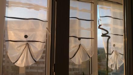 Декорирование балконных окон гардинами. Ткань для гардины Rasch textil, Германия. Днепр, Днепропетровская область. фото 2