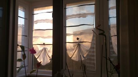Декорирование балконных окон гардинами. Ткань для гардины Rasch textil, Германия. Днепр, Днепропетровская область. фото 4