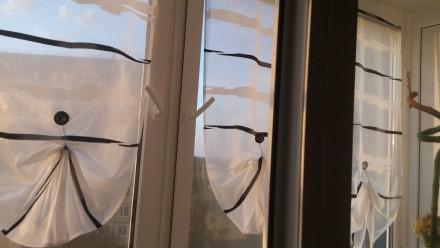 Декорирование балконных окон гардинами. Ткань для гардины Rasch textil, Германия. Днепр, Днепропетровская область. фото 3