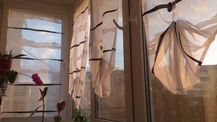 Декорирование балконных окон гардинами. Ткань для гардины Rasch textil, Германия. Днепр, Днепропетровская область. фото 8