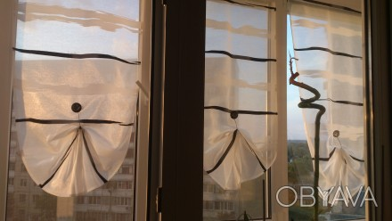Декорирование балконных окон гардинами. Ткань для гардины Rasch textil, Германия. Днепр, Днепропетровская область. фото 1