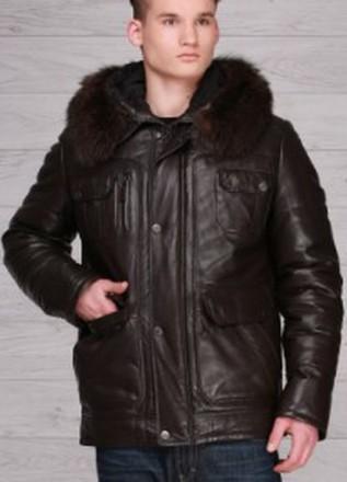 Итальянская кожаная зимняя куртка Hiperbol Дешевле на 10400!. Киев. фото 1