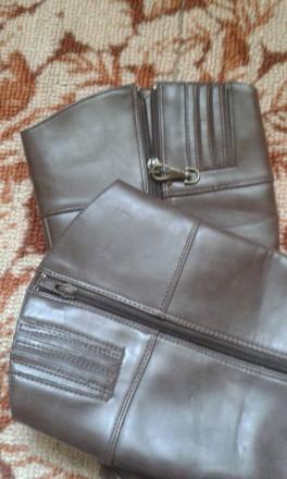 отличные, полностью кожаные добротные демисезонные сапоги,удобная устойчивая кол. Днепр, Днепропетровская область. фото 3