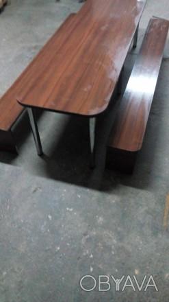 Продам большой стол (длина 2,70 м., ширина 0,80м.) со скамейками для отдыха. Иде. Сумы, Сумская область. фото 1