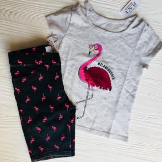 Крутецкие черные шорты для девочки с розовыми фламинго!. Славянск, Донецкая область. фото 3
