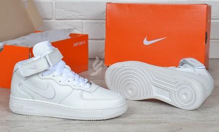 Кроссовки Nike Air Force 1 High White кожаные высокие белые. Харьков. фото 1