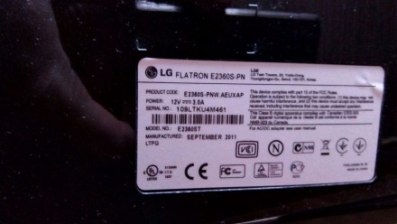 Продам монитор LG E2360 работает отлично, на глянце незначительные потертости. . Лубны, Полтавская область. фото 5
