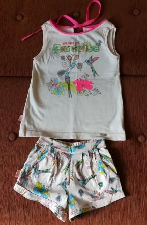 Очень красивый летний костюмчик для девочки, размер 104, 100% хлопок. Состояние. Киев, Киевская область. фото 2