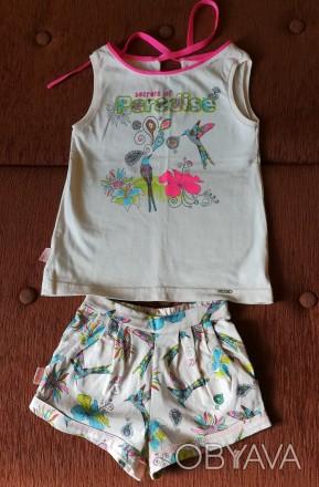 Очень красивый летний костюмчик для девочки, размер 104, 100% хлопок. Состояние. Киев, Киевская область. фото 1