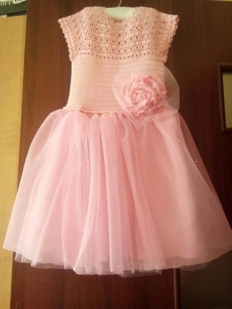 Продам красивое нарядное платье ручной работы. Комбинированное платье - вязанный. Днепр, Днепропетровская область. фото 9