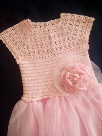 Продам красивое нарядное платье ручной работы. Комбинированное платье - вязанный. Днепр, Днепропетровская область. фото 3