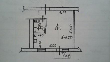 Продам свою однокомнатную квартиру-студию. Общая площадь 32 кв.м., 2 этаж пятиэт. Днепр, Днепропетровская область. фото 8