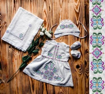 Крестильный набор для девочки. Стильная и яркая вышивка ХП06(р.56-74). Винница. фото 1