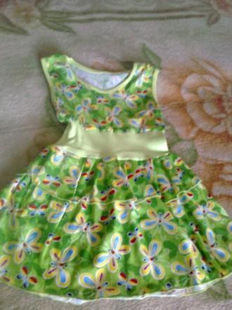 Плаття хлопокове вік 1-4 роки з метеликами зелене. Ковель. фото 1