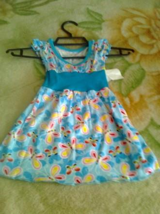Плаття хлопокове вік 1-4 роки синє з метеликами. Ковель. фото 1