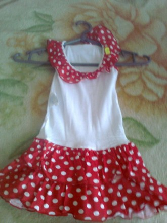 Плаття хлопокове вік 1-4 роки біле з червоним. Ковель. фото 1